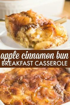 breakfast recipes Apple Cinnamon Bun Breakfast Casserole - A sweet way to start your day and feed your guests! Its made with cinnamon buns + apple pie filling for a mouthwatering breakfast casserole youll make again and again. Breakfast Bake, Sweet Breakfast, Breakfast Dishes, Breakfast With Apples, Apple Breakfast, Breakfast Healthy, Best Breakfast Casserole, Yummy Breakfast Ideas, Brunch Casserole