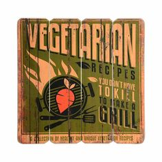 Schild Mischholz Vegetarian Grill natur ca L:40 x B:40 cm