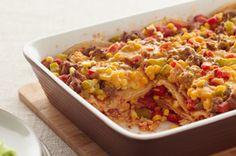 Layered Fiesta Casserole - ground beef, corn, corn tortillas, salsa, cheese