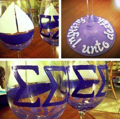 sisterhood idea file ~ wineglass painting!