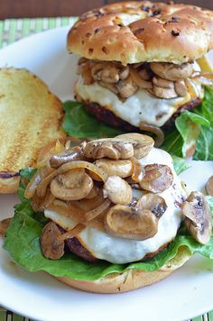 Amish-Style Smothered Mushroom Burgers...not sure what makes it Amish?!?