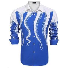 COOFANDY Men's Octopus Printing Shirt Stylish Slim Fit Button Down Long Sleeve Print Shirt