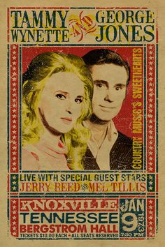 Tammy Wynette and George Jones Concert Poster with Jerry Reed and Mel Tillis. 12x18. Country Music. Kraft paper. Knoxville. Nashville. TN. by UncleGertrudes on Etsy https://www.etsy.com/listing/190228641/tammy-wynette-and-george-jones-concert