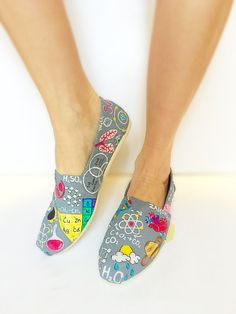 Custom science teacher hand painted TOMS  by BellaLaceBoutique