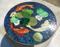 Jewels in the water mosaics glasses and search for Koi fish pool table