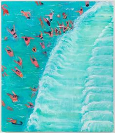 """Katherine Bradford, """"Fear of Waves"""" (2015), oil on canvas, 84 x 72 inches (image courtesy Canada, New York)"""