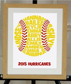 Personalised Baseball or Softball Word Art Gift