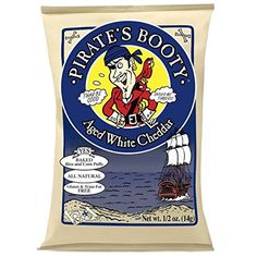 Pirate's Booty Baked Rice and Corn Puffs 0.5 oz Gluten Free Snack Bags, Aged White Cheddar (Pack of 36)