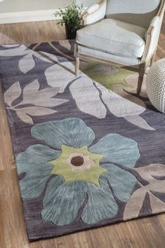 Amulet Floral TL05 Dark Grey Rug | Contemporary Rugs #RugsUSA
