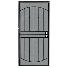 Grisham 36 in. x 80 in. 555 Series Tuscany Black Steel Prehung Security Door
