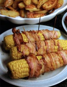 Bacon wrapped corncobs  - corn on the cob   - /  fun snack for a tailgating party / football party / appetizer / potluck /   grilling / cookout / bbq season /summer food