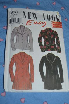 New Look 6916 Misses Jacket Sewing Pattern - UNCUT - Size 8 - 18