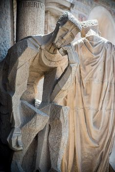 Sculpture on the Passion facade of La Sagrada Familia, Barcelona, Spain, architect Antoni Gaudi
