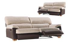 Sofá de dos plazas relax con mecanismo manual y tres plazas tapizado en piel textil y tela