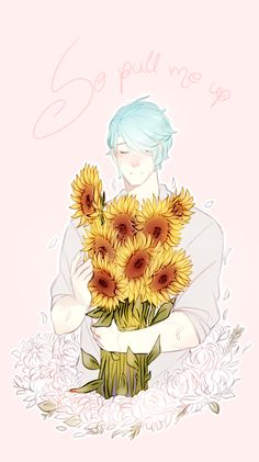 Yoooo V's Voice actor said he think sunflowers represent him best in an interview this is oddly meta in a really passive pastel kinda way and i like Mystic Messenger Game, Messenger Games, Jumin Han, Saeran, Fire Emblem, My Sunshine, Anime Art, Sketches, Fan Art