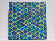 Tableau ronds colorés sur fond bleu - inspirations aborigène et contemporaine : Peintures par emdu