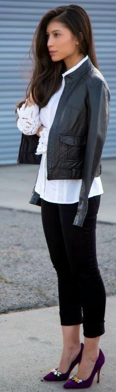 Black Jacket, White Lace Shirt With Cool Purple Heels | FASHION KITE