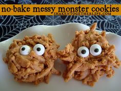 No bake Halloween cookies messy monsters - butterscotch chips, marshmallows, pb, chow mein noodles