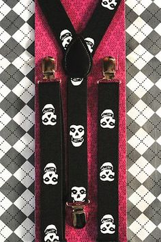 Youth Suspenders Braces Ska Punk Rock Kids Children Boys Black w Misfits Skulls   eBay