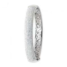 925 SILVER WHITE CRYSTAL PAVE HINGED OVAL BANGLE - Attenborough Pawnbrokers & Jewellers