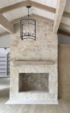 Austin stone fireplace to ceiling  