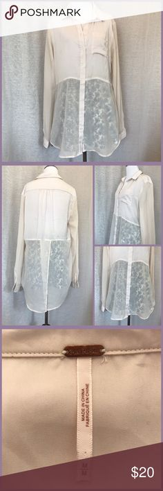 Free People Sheer Blouse A beautiful semi sheer, beige colored, button up blouse from Free People. The top half is solid, and the bottom is sheer, with slit open back detail. Size medium in great pre-loved condition. Free People Tops Button Down Shirts