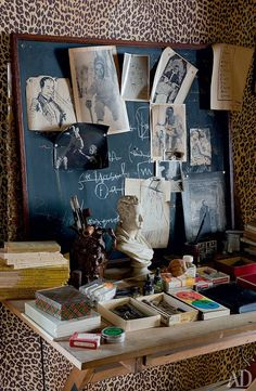 Farmhouse of the poet Jean Cocteau - Landhaus Workspace Inspiration, Inspiration Boards, Design Inspiration, Leopard Tapete, Leopard Wallpaper, Print Wallpaper, Interior Exterior, Interior Design, Jean Cocteau