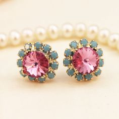 Pink Rose Turquoise Blue Stud earrings Posts Halo by TIMATIBO, $25.00
