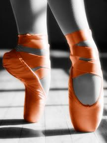 My two favorite things. Dance and the color orange. If I ever did point, you better believe I would have these orange point shoes Color Splash, Color Pop, Colour, Orange You Glad, Orange Is The New, Orange Ballet Shoes, Colored Pointe Shoes, Orange Shoes, Pink Photo