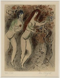 Adam and Eve with the forbidden fruit, 1960, Marc Chagall Size: 52.5x38 cm Medium: lithography on paper