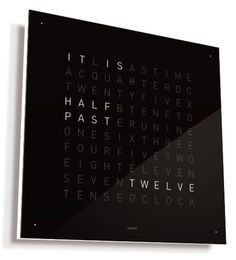 Another word clock; Qlocktwo by Biegert & Funk is a clock with no hands and no numbers, just words Word Clock, Clock Art, Cool Clocks, Unique Clocks, Digital Clocks, Digital Wall, Cool Gadgets, Tech Gadgets, Tech Hacks