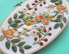 Oval floral embroidery hoop