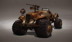post-apocalyptic car, Olga Orlova on ArtStation at https://www.artstation.com/artwork/post-apocalyptic-car-d3ca35da-b464-4688-b263-5ef177d4e1cf
