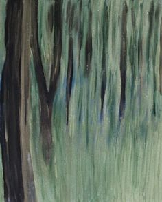 Abstract acyrlic painting of forest