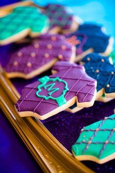 moroccan diaper cake | Beaded cupcake stand Dark turquoise organza bags