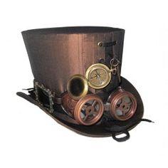 Chapeau Haut de Forme 18cm Rétro Steampunk Goggles Boussole