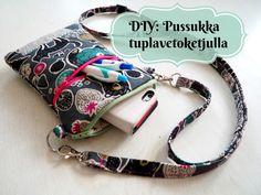 DIY: Pussukka tuplavetoketjulla - Punatukka ja kaksi karhua Sewing Hacks, Sewing Crafts, Sewing Projects, Salopette Jeans, Diy Baby Headbands, Denim Crafts, Fabric Bags, Quilted Bag, Kids Hats