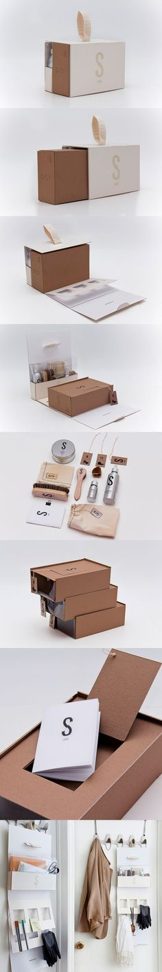 "Skins Shoe shine ""Box"" Organizer Concept by Jiani Lu. Packaging of the World Packaging Carton, Cool Packaging, Brand Packaging, Gift Packaging, Ecommerce Packaging, Packaging Ideas, Shoe Box Organizer, Shoe Shine Box, Grafik Design"