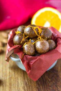 Orange and Cinnamon Bliss Balls. Gluten free, dairy free and vegan no-bake treat that's bursting with christmas flavours!