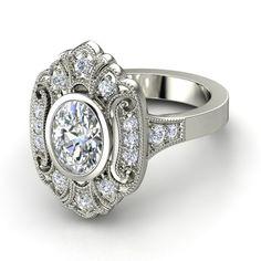 Oval Diamond 14K White Gold Ring with Diamond | Arya Ring | Gemvara