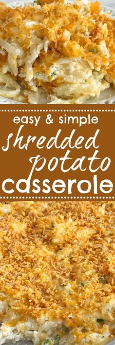 Frozen shredded potatoes make this cheesy shredded potato casserole side dish so easy to prepare! Loaded with cheese, green onions, and sour cream. Topped with a crunchy & cheesy topping that gets crispy while cooking | www.togetherasfamily.com #thanksgivingrecipes #thanksgivingfood
