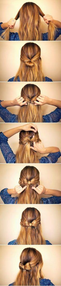Hair semi collected with bow - Cabello semi recogido con moño