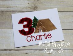 Birthday Camping Tent Number Applique Children's Shirt, Camping Birthday Boys and Girls Celebration Shirt Personalized Free Birthday Picture by ThePerfectWallet on Etsy