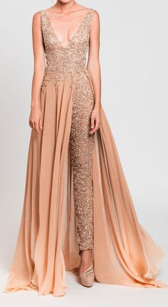 Tony Ward Plunge Jumpsuit with Overskirt Tony Ward, Elegant Dresses, Beautiful Dresses, Formal Dresses, Party Dresses, Indian Designer Outfits, Designer Dresses, Designer Clothing, Luxury Clothing