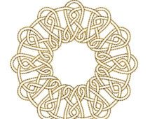 AUF Verkauf GOLDEN Circle Mandala 1 Maschine Stickerei Design 4 x 4 Reifen Redwork Instant Download