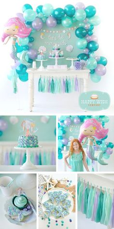 Mermaid Birthday Party, Mermaid Birthday Party Supplies regarding Mermaid Party Decoration Ideas Mermaid Theme Birthday, Girls Birthday Party Themes, Girls Party Decorations, Little Mermaid Birthday, Birthday Party Favors, Happy Birthday, Birthday Box, Mermaid Decorations, Birthday Ideas