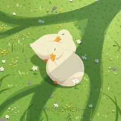Cute Animal Drawings, Cute Drawings, Cute Wallpaper Backgrounds, Cute Wallpapers, Cute Images, Cute Pictures, Kawaii Background, Duck Art, Illustration Art Drawing
