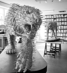 david mach sculptures made from matchsticks, coat hangers and playing cards