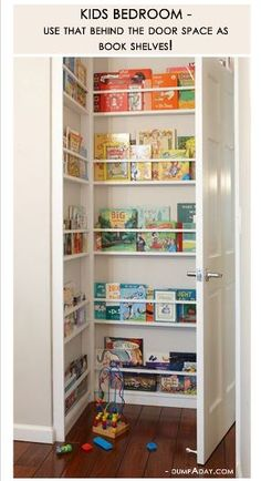 An idea for filling the frame of an unused/closed doorway. Could display larger artbooks (face front), bottles of wine, framed photos, etc.