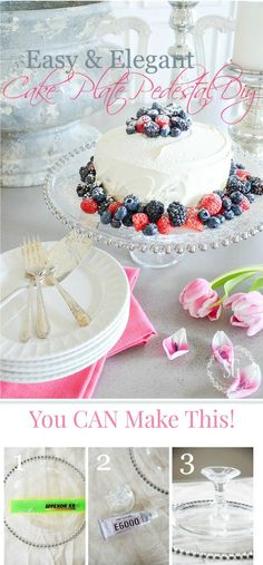 10 MINUTE BEAUTIFUL CAKE STAND- Make a one of a kind cake stand to use for desserts or decor. Just three simple steps to make your own cake stand!